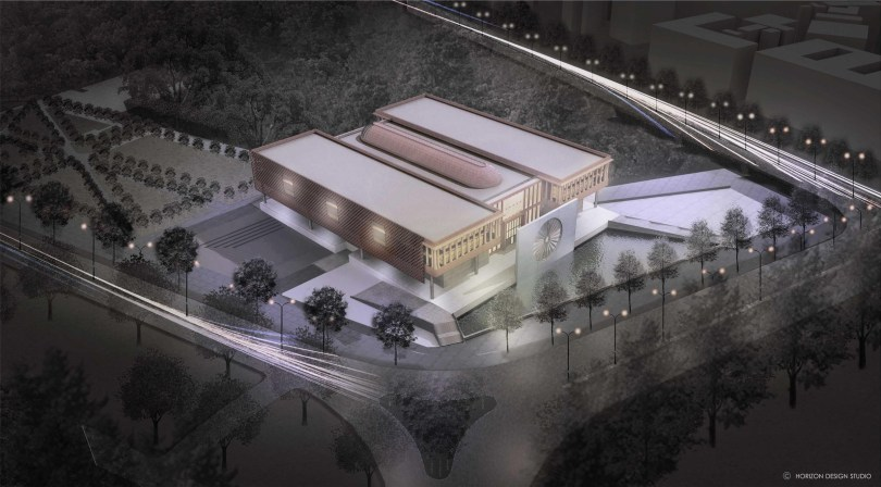 AERIAL CGI OF PROPOSED INDIAN NATIONAL WAR MUSEUM,
