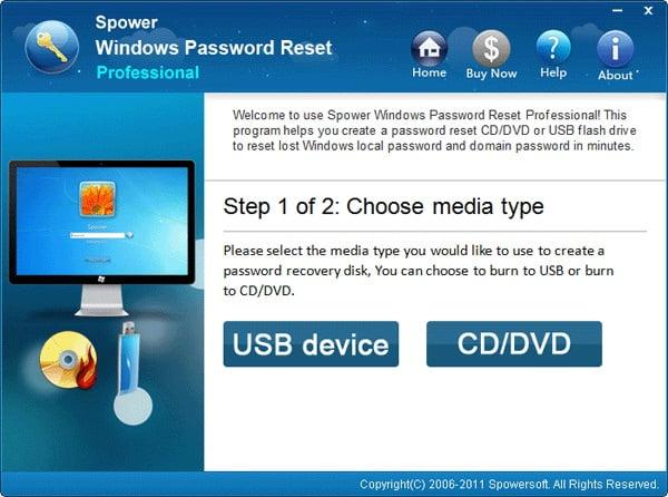 choose USB or CD/DVD to reset asus laptop password,