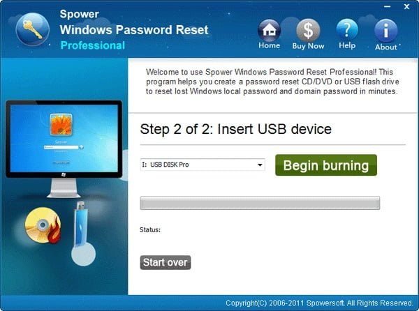 click begin burning to unlock asus laptop forgot password,