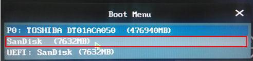boot menu,