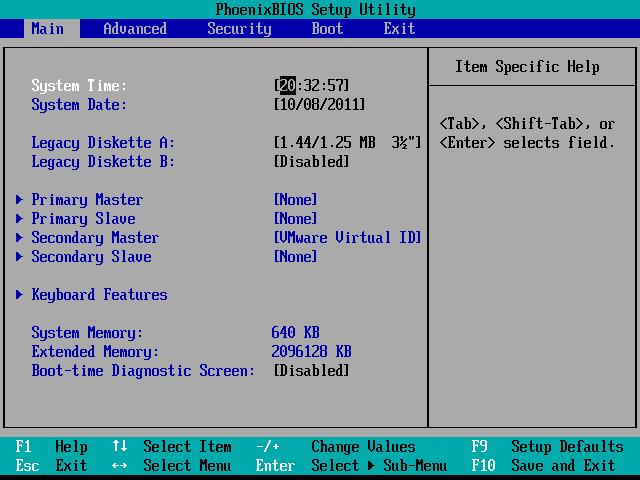 enter BIOS system menu,
