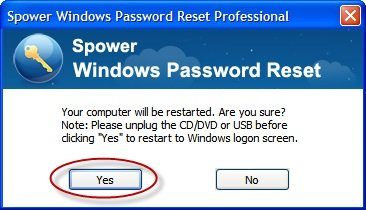 click yes to finish resetting password on Asus laptop,