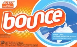 Bounce fabric softener sheets for the dryer.
