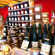 Ciders and jams at the artisanal stall.