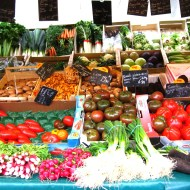 One of the fresh vegetable stalls.