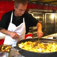 Street food of potatoes and garlic.