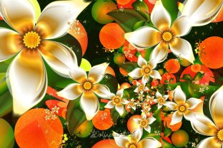 """Fractal Orange Blossoms"" by wolfepaw on Deviantart.com. (Website link embedded within photo.)"