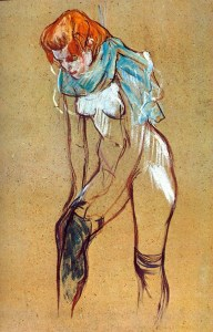"Henri de Toulouse-Lautrec, ""Femme enfilant son bas."" Source: toile-photo.eu"