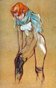 """Henri de Toulouse-Lautrec, """"Femme enfilant son bas."""" Source: toile-photo.eu"""