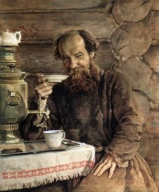 "Painting, ""Old man, a samovar and tea"" by Alexander Morozov, 1835-1904. Source: Pinterest and vk.com"