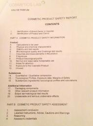 The Contents page for the 96-page Safety Assessment Report for Papillon. Source: Liz Moores.