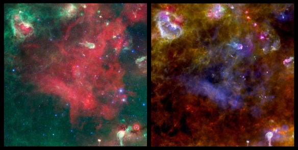 Nasa ESA Spitzer Herschel of the Cygnus X. Source: science-et-vie.com