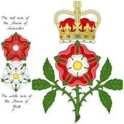 The Red Rose of Lancaster, the White Rose of York, and their joining in the Tudor Rose. Image source: Pinterest.