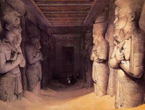 Entrance Hall, Abu Simbel, Ramses IIs tomb. Image ca. 1839. David Roberts lithograph. Source: Pinterest.