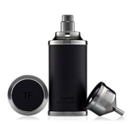 A special, 50 ml, black, leather-encased bottle of Ombre Leather. It's not sold everywhere. Source: Tomford.com [Photo lightly cropped by me.]