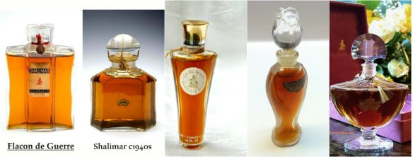 Vintage Shalimar Parfum over the decades. Original source of photos, from left to right: Guerlain Perfumes blog spot, Etsy, Angelaira's Vintage Perfumes blog, me. Collage: my own.