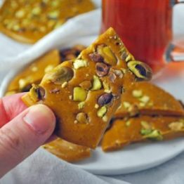 Sohan e Qom, or Sohan brittle. Photo & Source: Ahu at Ahu Eats. (Direct to website with easy recipe is embedded within the photo.)