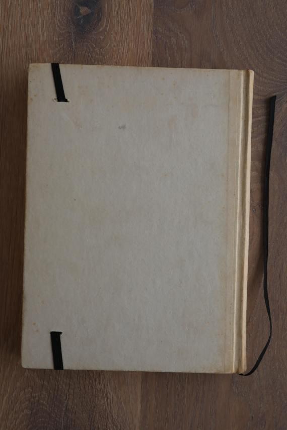 Van het boek Flap hebben we een notitieboekje gemaakt. De eerste pagina's van het originele boek zitten er nog in. Blanco pagina's, voorzien van een zwart elastiek en een lintje.