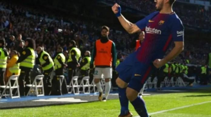 L'attaquant uruguayen du FC Barcelone Luis Suarez exulte après son but dans le clasico face au Real, le 23 décembre 2017 à Madrid