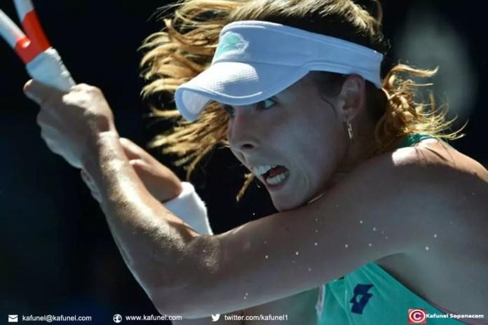 La Française Alizé Cornet face à la Belge Elise Mertens au 3e tour de l'Open d'Australie, le 19 janvier 2018 à Melbourn e