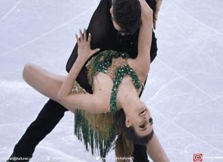 Gabriella Papadakis et Guillaume Cizeron lors du programme court de patinage artistique aux Jeux olympiques de Pyeongchang (Corée du Sud), le 19 février 2018. (ALEXANDER VILF / SPUTNIK)