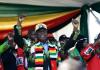 Le président du Zimbabwe Emmerson Mnangagwa prend la parole à Bulawayo le 23 juin 2018 le jour de l'attentat qui l'a visé | AFP | ZINYANGE AUNTONY