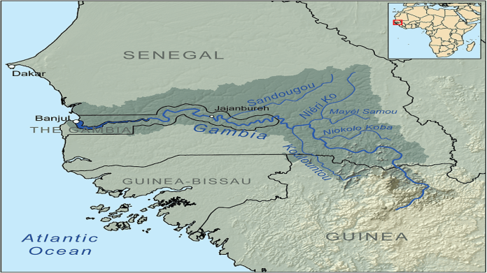 Map showing the Gambia River drainage basin.