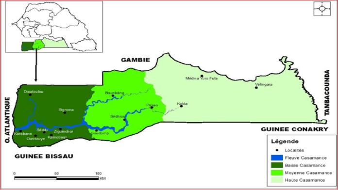 Carte 1 : Région naturelle de la Casamance