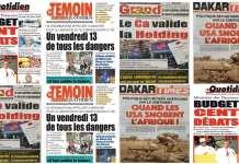 les Unes de la presse sénégalaise du vendredi 13 decembre 2019