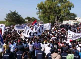 Les manifestants lors de leur sortie le 16 décembre 2019 à Banjul, la capitale