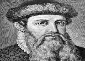 Johannes Gutenberg, inventeur de la presse mécanique à caractère alphabétique mobile métallique à partir de 1450.