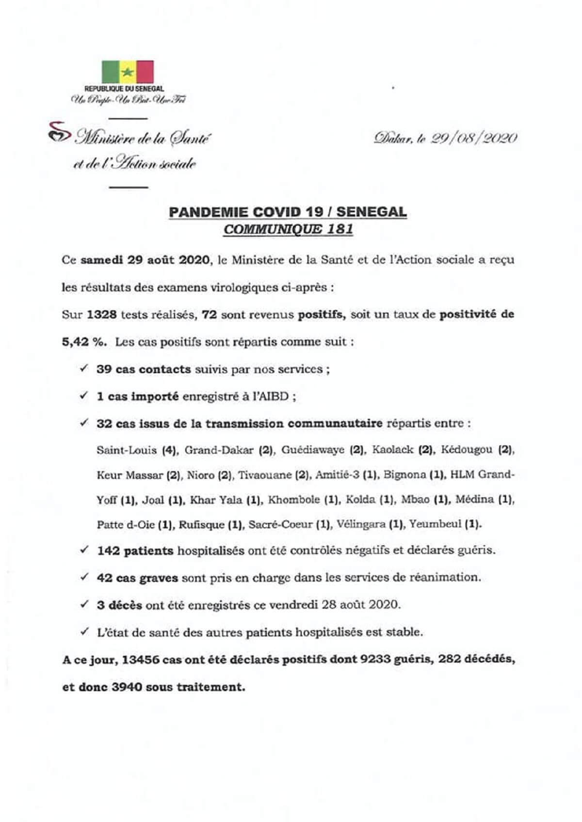 72 nouvelles contaminations au coronavirus / SITUATION DU JOUR - 29 AOUT 2020