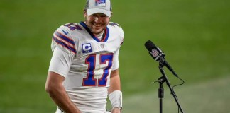 Josh Allen after he breaks Bills' single-season record for touchdown passes