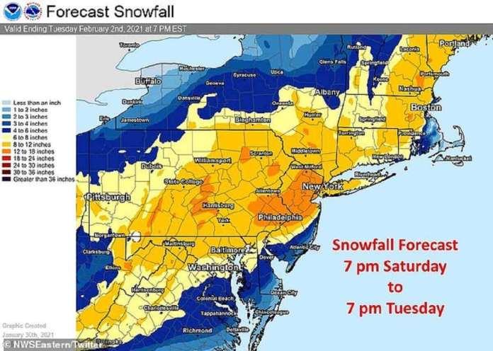 On prévoit entre 12 et 18 pouces de neige dans des États tels que le New Jersey et la Pennsylvanie au moment où la tempête devrait se terminer mardi.