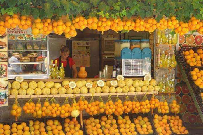 Buvette d'agrumes à Pompéi.