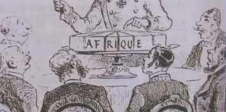 Caricature de 1885 titrée « Découpage de l'Afrique à la conférence de Berlin - À chacun sa part, si l'on est bien sage. Journal L'Illustration. (Wikipédia)