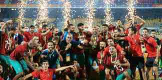 L'équipe du Maroc célèbre sa victoire (2-0) en finale du Championnat d'Afrique des nations (CHAN) face au Mali, le 7 février 2021 à Yaoundé (Cameroun) afp.com -