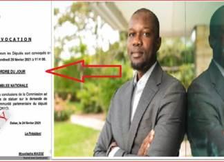 document de convocation levée Immunité parlementaire de Sonko - Kafunel.com - Les députés convoqués en plénière vendredi-Capture