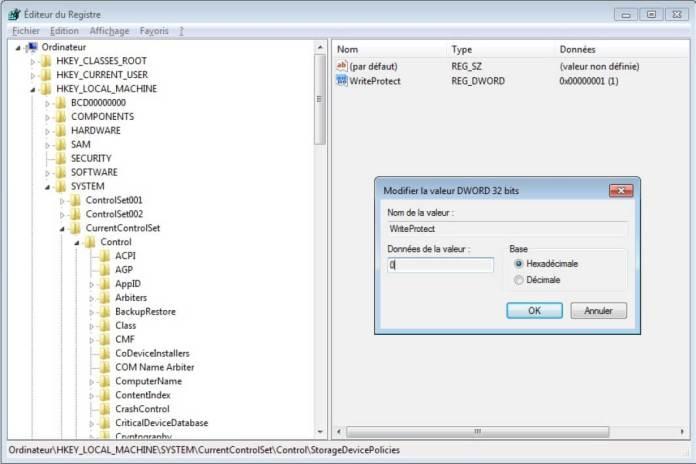réparer USB www.kafunel.com Modification de base des registres