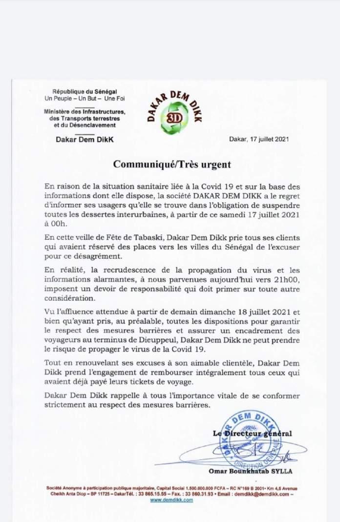 Communiqué www.kafunel.com Dakar Dem Dikk suspend ses désertes interurbaines à cause de la Covid-19