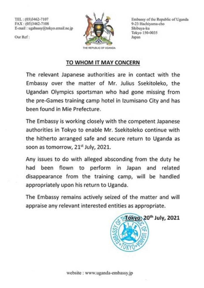 JO Tokyo www.kafunel.com l'haltérophile ougandais disparu retrouvé sain et sauf