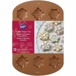 Bageform til 12 snefnug småkager, kobberfarvet - Wilton