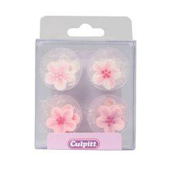 Sukkerpynt pink blomster - 12 stk fra Culpitt
