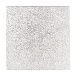 Sølv kagepap 10 cm – Firkantet
