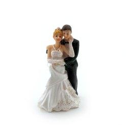 Topfigur til bryllupskage, brudepar 9,5cm