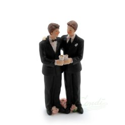 Topfigur til bryllupskage, brudepar mænd 13,3cm