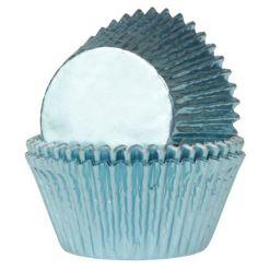 Mini muffinsforme baby blå folie 36 stk. - House of Marie