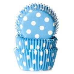 Mini muffinsforme blå med prikker 60 stk. - House of Marie