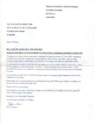 A letter by the complainants to KEBS