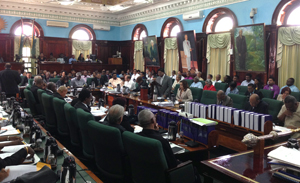 Dr Ashni Singh (standing) presents the 2014 Budget as MPs pay rapt attention.